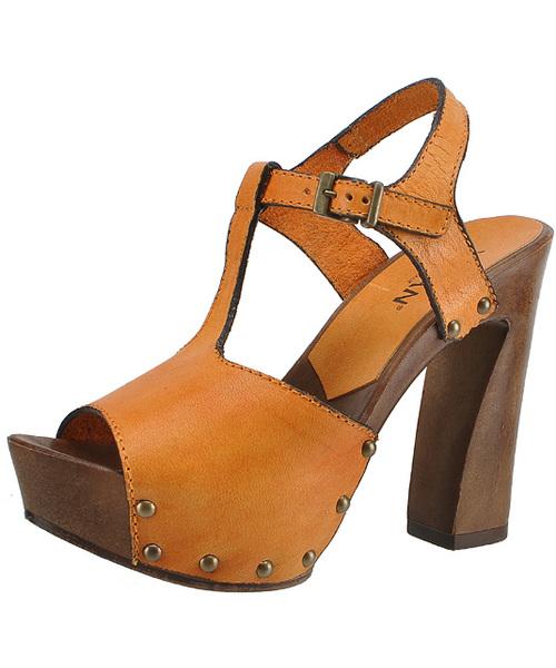Bardzo dobryFantastyczny Mascha Florence 13129 Arancio, Skórzane sandały na drewnianym KM67
